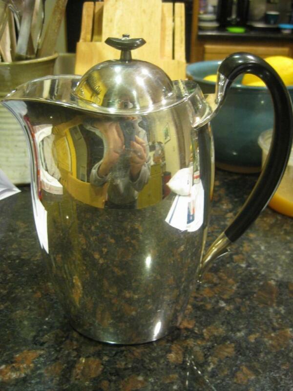 Vintage Community Achievement Silverplate Modernist Lidded Coffee Pot or Pitcher