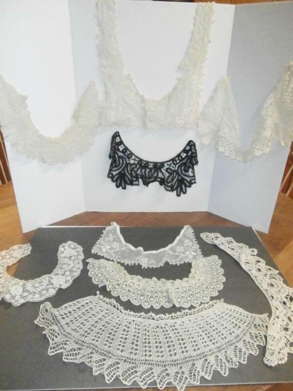 LOT ANTIQUE CROCHET LACE DRESS COLLARS EYELET, MATCHING, BLACK RUTH RBG COLLARS