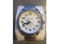 Gents Acctim radio controlled talking watch. Stainless steel expanding strap. Boxed, as new