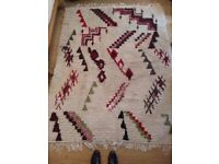 Moroccan Berber Boucherouite Rug - cream with colourful accents