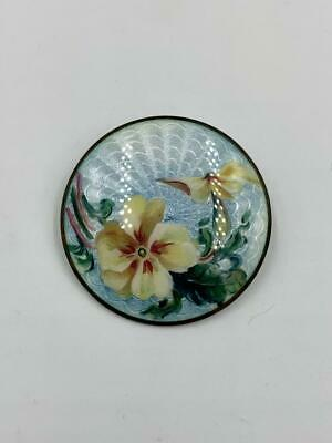 Marius Hammer Norway Guilloche Enamel Brooch Pansy Flower Antique Silver c1890