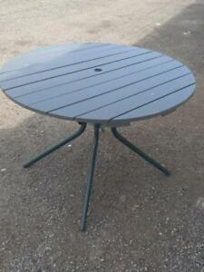 "AA Oakville Outdoor 40"" Round Patio Table Wood Top Metal Legs Green and gray"