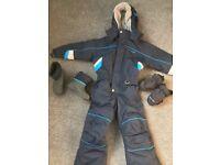 Kid's Winter Clothes Bundle - snowsuit, boots & gloves ages 3-4