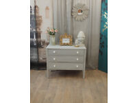 Vintage chest of three drawers in shabby chic style