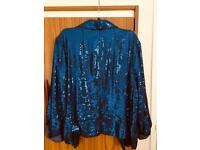 Blue sequinned waist jacket