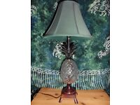 Vintage Vedigris Brass Lamp with Glass Pineapple Body - Green Shade - Unique