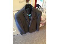 Men's deep silver 3 piece suit