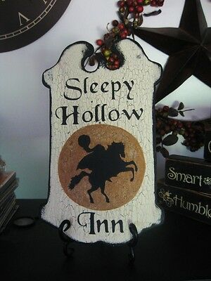 Primitive Halloween Sign SLEEPY HOLLOW INN Headless Horseman Gold Moon - Halloween Sleepy Hollow