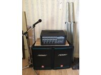 Electric guitar, amp, speakers, 2 pedals and case for guitar