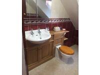 Heritage bathroom suite-Sink/oak vanity unit,toilet,bidet,shower with tray/enclosure,towel rail etc