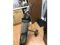 Full set golf clubs with golf bag and trolley