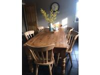 Old Linton Pine classic Farmhouse Table and 8 Chairs. (Lauder)