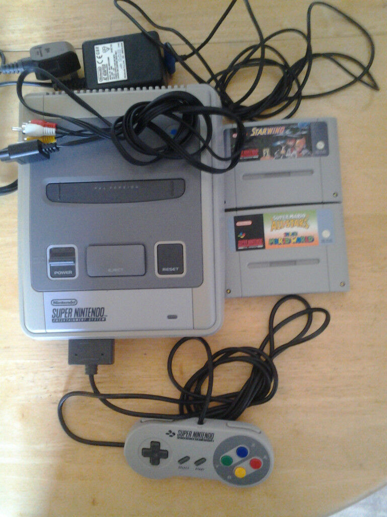snes with mario all stars,starwing,controller and cables