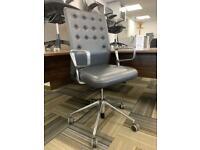 Vitra ID Trim Designer Office Chair, Aluminium Armrests, Grey Leather Seat