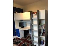 Cabin Bed high sleeper with desk & wardrobe