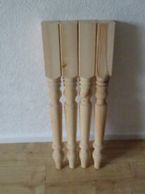 2 sets of turned wooden table legs £10 each set - 3 pairs of dressing table mirror legs £10 for all
