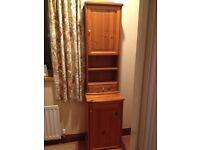 Pine 2 piece tall cabinet bathroom / living room