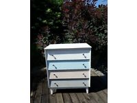 Vintage Painted Bedroom 4 Drawer Chest of Drawers