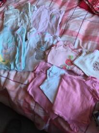 Baby girls sleepsuits, dressing gown and vests size 6-9months