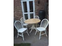 Pine table and 4 chairs painted in farrow and ball