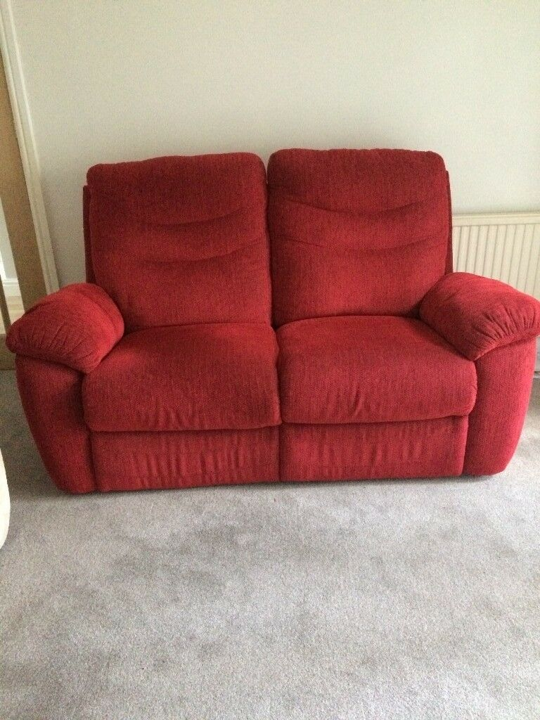 2 Seater Reclining Sofa For Sale Lovely Soft Red Fabric