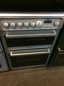 Silver Hotpoint 60cm ceramic hub electric cooker grill & double fan assisted ovens with guarantee