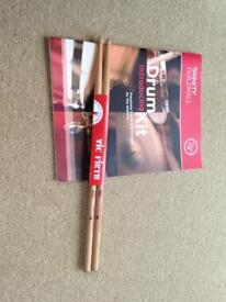 Vic Firth Hickory drumsticks size 7A and Introducing Drum Kit Book with CD
