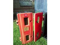 Fire extinguisher outside outdoor protection box plastic