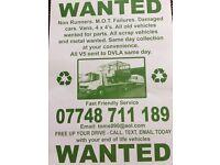 scrap cars vans 4x4 non runners mot failures damaged right offs