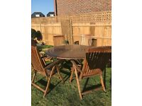 Alexander Rose Round Teak Garden Table & 6 Chairs