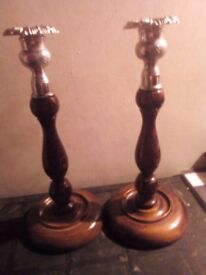 Wooden vintage candle sticks