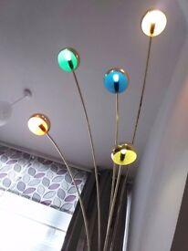 5 arm Arch Golden Floor Lamp - Multi Colour - Marble Base