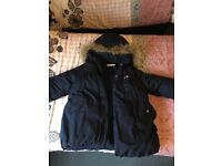 Navy blue girls feather puffer coat. Age-10
