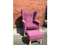 Designer Shackletons wing back armchair with foots stool
