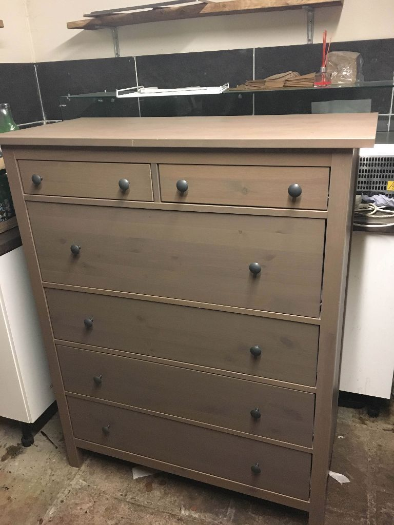 Solid Wood Chest Of 6 Drawers Ikea Hemnes Grey Brown