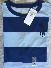 BNWT Ralph Lauren Polo Boy T Shirt Blue Size Large and XL Age Short Sleeve Gift