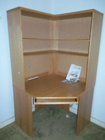 John Lewis Home Office Corner desk workstation + shelving / bookcase unit