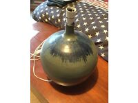Large blue pottery lamp base with light fitting