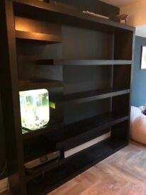 Large black shelving unit