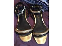 Ladies black & gold sandals size 7