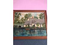 Waterside Property On The Broads - 1975 Oil Painting