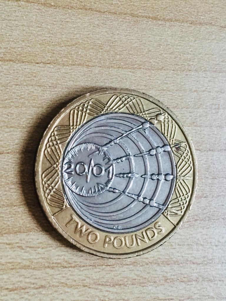 2 pound coin Marconi 1st wireless transmission 2001.