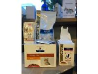 Selection of kidney care cat food wet and dry