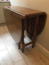 Vintage Pine Wood Drop Leaf Table