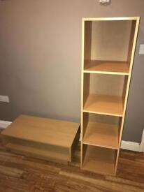 Beech coffee table and storage unit (Argos cube set)