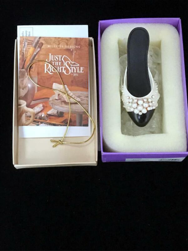 """Just The Right Shoe ~ 1998 """"Pearl Mule"""" #25010 Miniature Raine-Willetts ~ Boxed"""