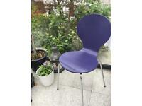 Hugo designer moulded wood dining Chairs with chrome legs, pair, purple or pink