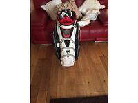 Taylor made golf bag and folding trolley