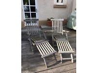 Wooden Outdoor Sun Loungers (2)
