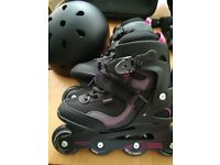 Women's Decathlon Oxeio inline roller skates size 5.5 with accessories (worn once)